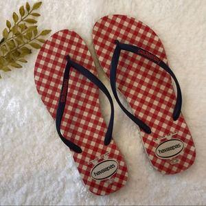 Havaianas Red White Blue Slim Flip Flop Size 11/12